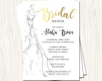 Custom Faux Gold Wedding Dress Watercolor Sketch Bridal Wedding Shower Bachelorette Invitation - Any Color