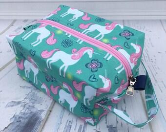 Unicorn Turquoise Knitting Project Bag, Box Bag, Large boxy bag, Knitting Box Project Bag.Unique metal zipper pull.Crochet project bag