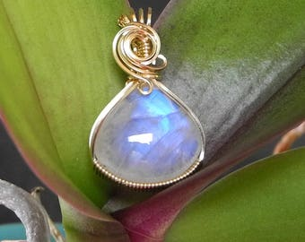 Rainbow Moonstone Pendant, Wire Wrapped in 14 KT GF, Rainbow Moonstone Necklace, Blue Flash Moonstone, Mystical Moon Designs, Gem Quality