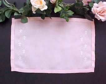 Pretty Pale Pink Doily with Embroidered Fleur-Di-Lis Design