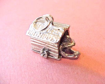 """Darling Vintage Mechanical Sterling Silver Charm-Man in the """"Dog House"""""""