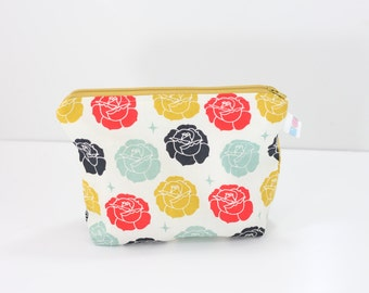 Roses Everything Bag, Roses Wet Bag, Stamped Roses Zipper Bag, Diaper Bag Organizer, Zipper Bag, Handmade, Augie and Lola