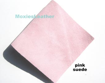 hint of pink suede - genuine suede skin in baby pink - soft pink suede -