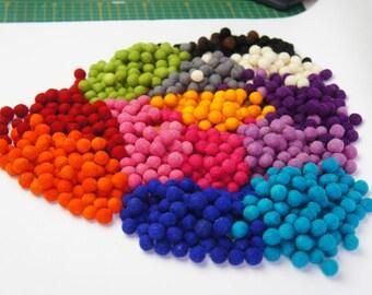 SALE 20% Felt Balls, Wool Ball, 1.3 cm 250 pcs, Felt Pom Pom, Pom Pom, Wool Pom Pom Ball, Felt Wool Nall, Ball Garland, Christmas Felt Ball