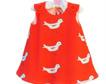 Organic Cotton Knit - White Birds - Organic Baby - Organic Baby Clothing - Eco Friendly - Nursery - Girls Clothing - 12M to 3T