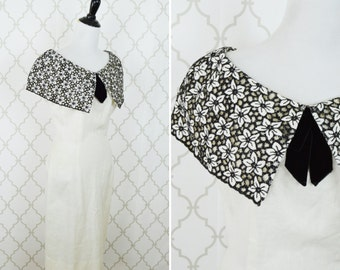 Vintage 1950's ivory cocktail dress - lace sailor collar wiggle dress - 50's party dress - ladies size small