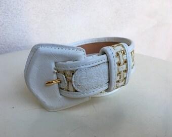 "Vintage belt Carlos Falchi white leather straw insert fits 25-28"" waist"