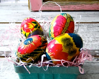 Hand Painted Wood Eggs Set of Four Vintage Easter Decorations