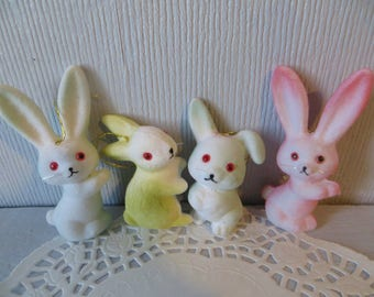 "Set of 4 flocked bunnies small, 2-1/2"" - 3,"" vintage style easter decoration/ornaments,pastels,pink,blue +"