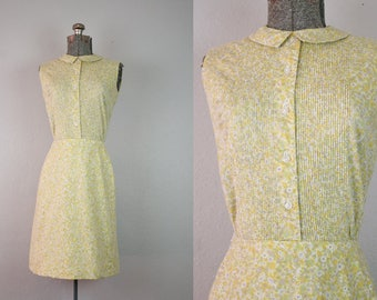 1960's Yellow Calico Floral Print Dress / Size Small