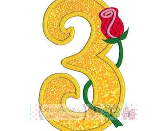 Rose Number 3 Digital Machine Embroidery Appliqué Design