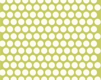 Polka dot fabric - Birch Organic Cotton Fabric - Dottie Cream - Grass - Mod Basics Poplin - Green and Cream Dots - Lime Green Fabric