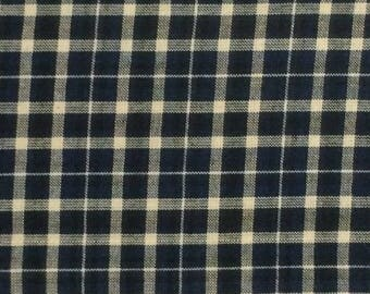 Cotton Fabric / Homespun Cotton Fabric / Woven Cotton Fabric / Blue Woven Cotton Fabric / Navy Plaid Fabric / Navy Homespun Fabric