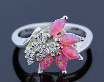Bright Pink Australian Opal Ring - 925 Sterling Silver- Ring Size 8 Jewelry - R145