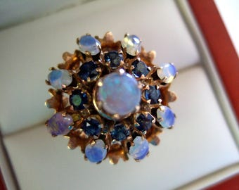 Magnificent Thailand Princess Ring Blue Sapphires Fiery Opals Gold Filigree 1970's Exquisite Glamorous Gift for Her Dynamic Gift for Wife