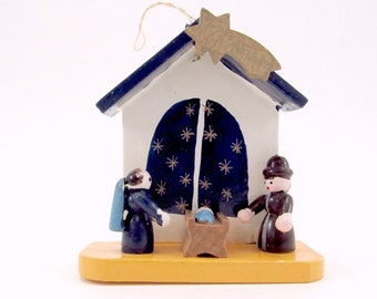 Vintage Wood Nativity Christmas Ornament Miniature Creche Christmas Decoration