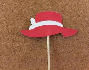 12 Red Hat cupcake toppers-Red Hat Society food picks