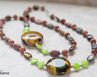 Bright green, yellow, brown very long statement necklace with large dragon vein agate, summer colorful fashion necklace, fluorescent color