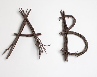 2 Large Twig Letters: Choose Any 2 Letters