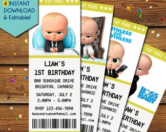 Boss Baby Invitation, Boss Baby Ticket Invitation, Boss Baby Birthday, Boss Baby Party, Boss Baby Invite, Boss Baby Movie