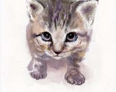 Kitten watercolor original painting, little cat, cats lover gift