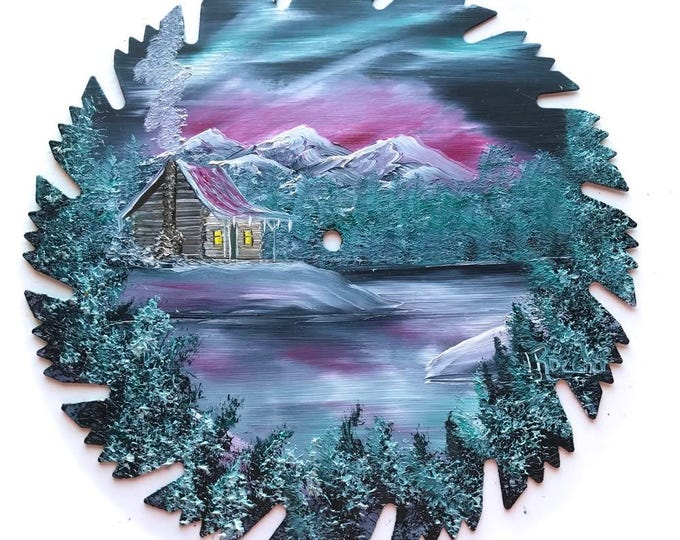 Hand Painted Saw Blade Mountain Winter Gray Northern Lights Snow Log Cabin SALE