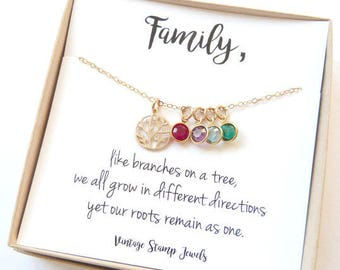 Family Tree Necklace ,Wife Birthstone Gift, Children's Birthstone , Personalized Necklace Gift,Gift for Mom, Gift for her