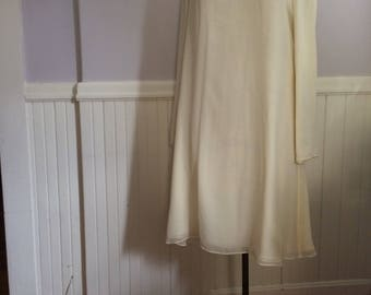 Women's Vintage Clothing / Ellen Tracy Ivory Silk Dress / Silk and Rhinestone Dress / 1980's