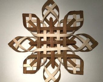 Scandinavian Star Christmas Tree Topper Star of Bethlehem -Natural and Walnut Dyed Reed- Extra Large Size