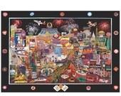 BLACK FRIDAY Casino Painting 'Las Vegas' by Roxy, Colorful Modern Impressionism, Poker Artwork, Pop Art Cityscape Metal Giclée - Sharie Hatc