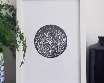 Harvest Moon Lino Print