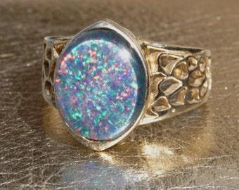 Vintage 9K Opal Ring, Antique Opal Ring, Triplet Opal Ring, Opal Ring, Natural Opal