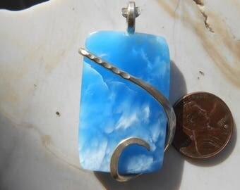 Blue Victoria Stone Silver Wrapped Pendant