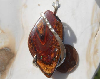 Cabochon-NICE Australian Yawah Opal Silver Wrapped Pendent