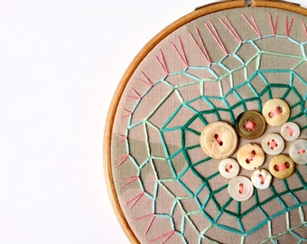 ARMY WIFE, Embroidery Hoop Art, Features Army Uniform Scrap, Bone And Shell Buttons And Pink And Green Cotton Floss
