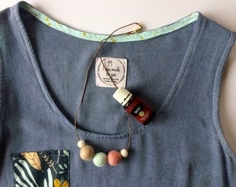 "22"" Women's Felt Ball Necklace, Essential Oil Diffuser"