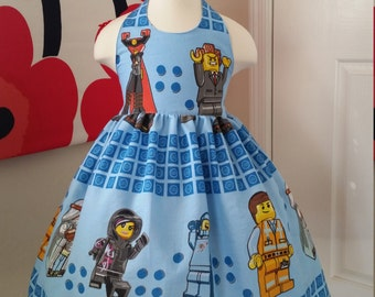 Custom Made to Order Lego movie party dress Sz 12M to 6T