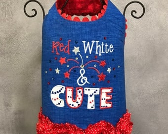 PATRIOTIC:  Red, White & Cute Dog Harness