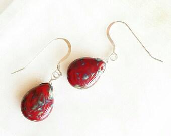 Red Glass & Sterling Silver Earrings