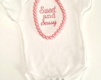 Sweet and Sassy Bodysuit or Tee with Necklace - Includes Shipping thru March 31st