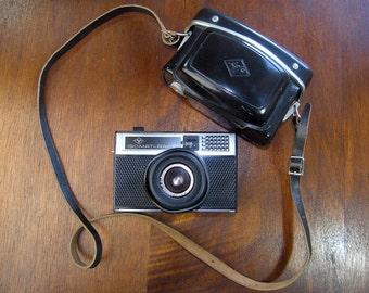 Vintage 35 mm Film Agfa Camera in Black Leather Case, 1960s Agfa Isomat-Rapid Camera Original Etui, Made in Germany, Retro Photography