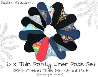 6x Panty Liner Cloth Menstrual Pads Set (You Pick Colours) Reusable Cotton Sanitary Pads