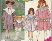 50% OFF VTG Butterick 3993 Cabbage Patch Kids Girls Dress & Matching Doll Dress Pattern, Transfer Included, Size 5-6-6X Uncut