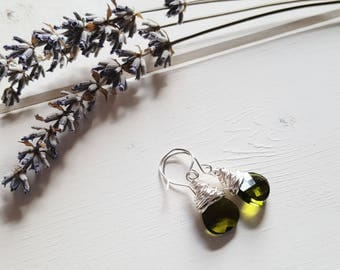 Ruth - Olive Green Drop Earrings, Ready to Ship