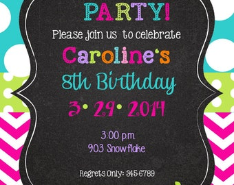 Peace Love Party Birthday invitations with envelopes   chalk- chalkboard -any colors