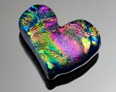 Heart Cabochon, Dichroic Heart Cabochon, Jewelry Cab, Stunning Heart Glass Tile, Mosaic Heart Tile, Decorative Tile
