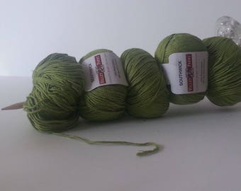 Five balls of IGUANA/Sour Apple Green/Spring Green/Bamboo and Cotton Yarn