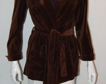 1970's chocolate brown velvet tie front jacket by Evan-Picone