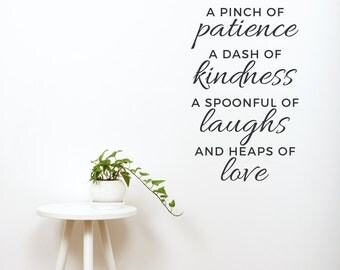 Pinch of Patience Wall Decal - Inspirational Wall Decal, Kitchen Wall Sticker, Typography Decal, Patience, Recipe for Love, Kitchen decor