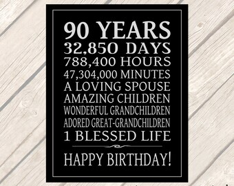 90 Year Birthday Gift Printable Party Sign Digital File Instant Download Birthday Poster 90th Birthday Decor JPG 5 sizes